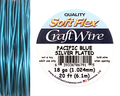 Soft Flex Silver Plated Pacific Blue Craft Wire 18 gauge, 20 ft