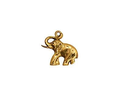 Stampt Antique Gold (plated) Elephant Charm 14.5x13mm