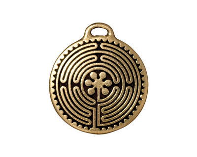 TierraCast Antique Gold (plated) Labyrinth Pendant 23x26mm