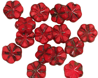 Czech Glass Red Picasso 6 Petal Daisy 9mm