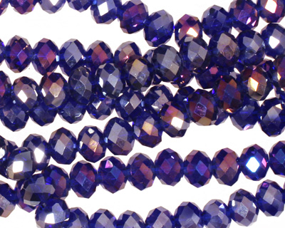 Cobalt AB Crystal Faceted Rondelle 6mm