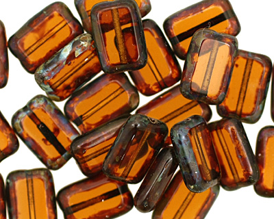 Czech Glass Dark Topaz Picasso Rectangle 12x8mm