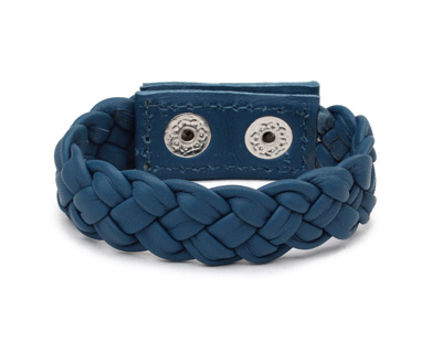 Pacific Blue Leather Braided Cuff 7/8