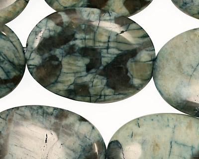 Mystic Blue Feldspath Flat Oval 30x22mm