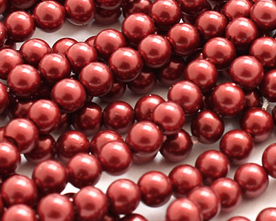 Black Cherry Shell Pearl Round 4mm