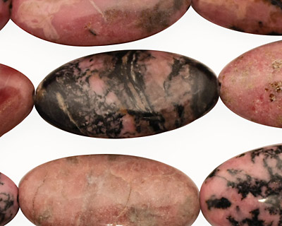 Rhodonite (w/ extra black matrix) Flat Oval 28-29x15mm