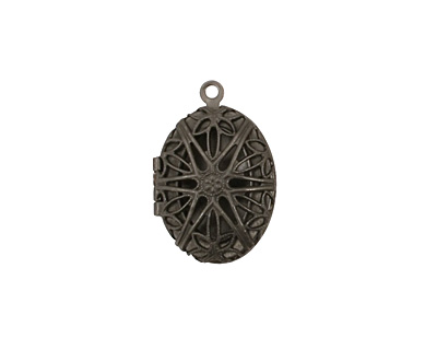 Gunmetal Oval Filigree Heirloom Locket 17x25mm