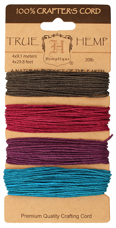 Shades of Party Hemp Twine 20 lb, 29.8 ft x 4 colors