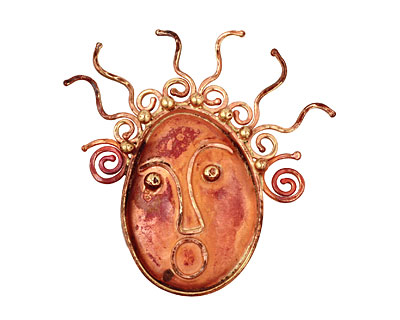 Patricia Healey Copper Lady Face Pendant 47x57mm