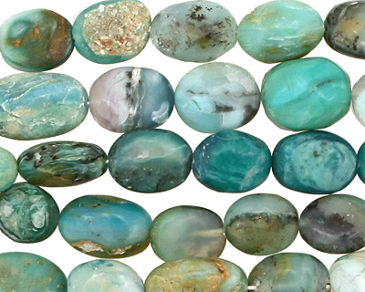 Peruvian Blue Opal Irregular Flat Oval 10-12x9-10mm