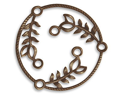 Vintaj Natural Brass Fern Laurel Connector 36mm