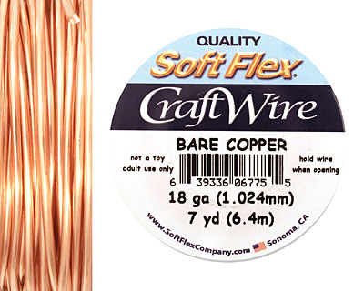 Soft Flex Bare Copper Craft Wire 18 gauge, 7 yards