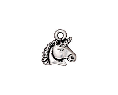 TierraCast Antique Silver (plated) Unicorn Charm 14mm