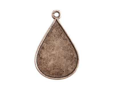 Nunn Design Antique Silver (plated) Ornate Flat Drop Tag 18x28mm