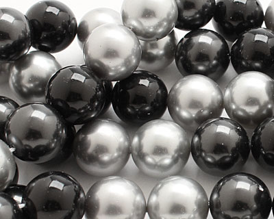 Grayscale Shell Pearl Mix Round 14mm