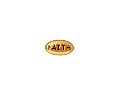 TierraCast Antique Gold (plated) Faith Word Bead 11x6mm