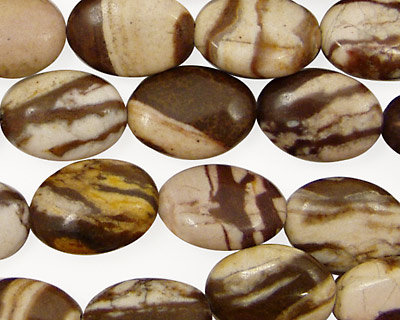 Brown Zebra Jasper Flat Oval 14x10mm