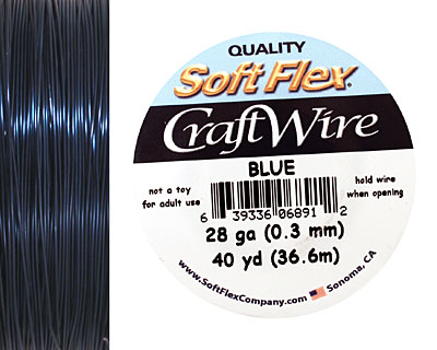 Soft Flex Blue Craft Wire 28 gauge, 40 yards