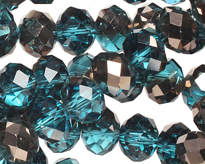 Capri Blue & Oiled Bronze Crystal Faceted Rondelle 10mm