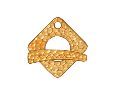 TierraCast Antique Gold (plated) Hammered Square Toggle Clasp 18xmm, 23bar