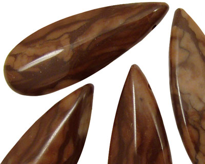 Marbled Coffee Jasper Cut Flat Teardrop 15x38mm
