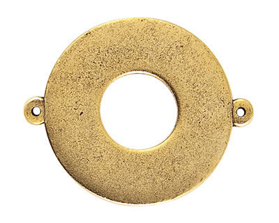 Nunn Design Antique Gold (plated) Flat Grande Circle Tag Toggle Link 38x30mm