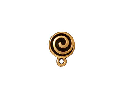 TierraCast Antique Gold (plated) Spiral Ear Post 10x13mm