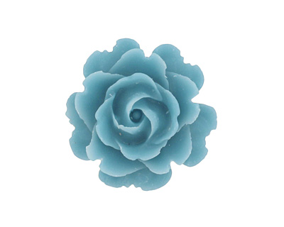 Matte Opaque Capri Blue Lucite Rose Cabochon 23mm