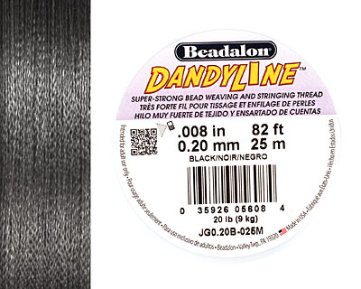 DandyLine Black .2mm Thread, 25 meters