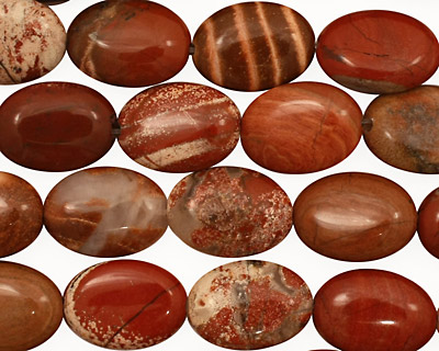 Red Bend Jasper Flat Oval 14x10mm