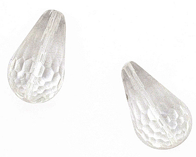 Rock Crystal Faceted Teardrop 22x13mm