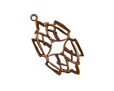Stampt Antique Copper (plated) Stained Glass Filigree Drop 17x32mm