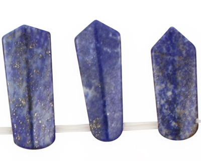 Lapis Drilled Ridged Spear Drop Graduated 11-14x20-50mm