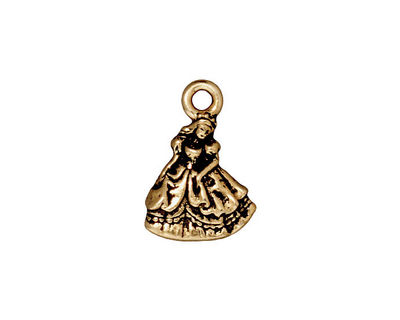 TierraCast Antique Gold (plated) Princess Charm 13x19mm
