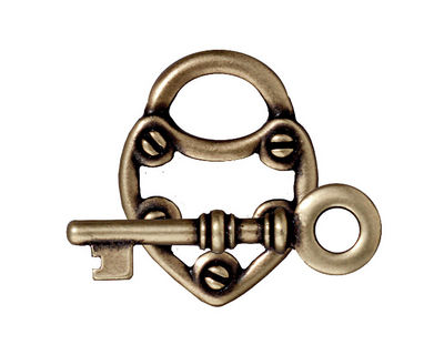 TierraCast Antique Brass (plated) Lock & Key Toggle Clasp 19x24mm, 30mm bar