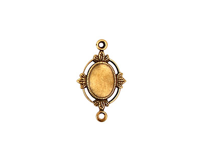 Stampt Antique Brass Floral Sprig Connector Oval Setting 6x8mm