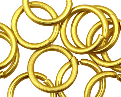 Yellow Anodized Aluminum Jump Ring 18mm, 12 gauge (13.1 mm inside diameter)