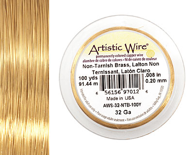 Artistic Wire Non-Tarnish Brass 32 gauge, 100 yards