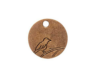 Nunn Design Antique Gold (plated) Small Circle Bird Tag 19mm