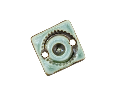 Earthenwood Studio Ceramic Seafoam Wheelie Square Link 17mm