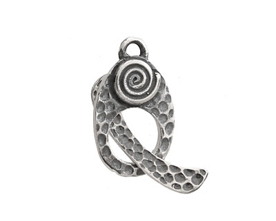Saki Sterling Silver Spiral Toggle Clasp 23x14mm, 25mm bar