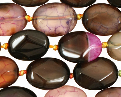 Rainbow Snakeskin Agate Faceted Flat Oval 16x12mm