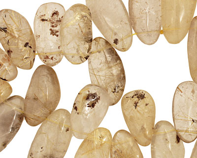 Rutilated Quartz Tumbled Nugget Drop 14-16x26-40mm