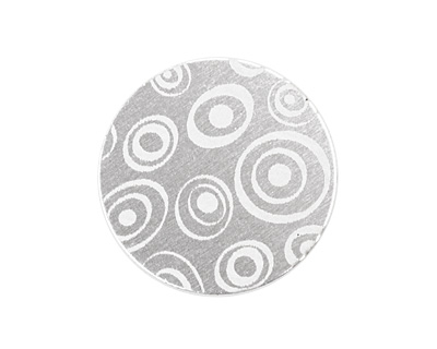 Lillypilly Silver Groovy Circles Anodized Aluminum Disc 25mm, 22 gauge