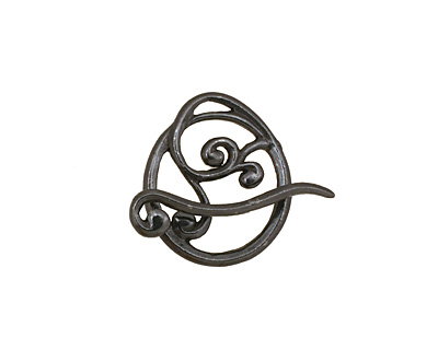 Gunmetal Swirly Toggle Clasp 18x16mm, 22mm bar