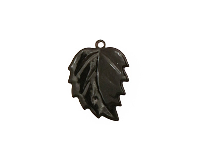 C-Koop Enameled Metal Black Leaf 15x20mm