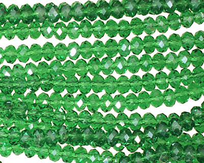 Dark Emerald Crystal Faceted Rondelle 4mm