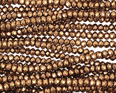 Metallic Antique Bronze Crystal Faceted Rondelle 3mm