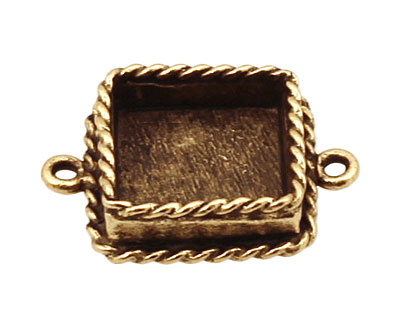 Nunn Design Antique Gold (plated) Mini Ornate Square Bezel Link 24x18mm