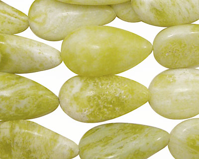 Natural Lemon Jade Flat Teardrop 22x12mm
